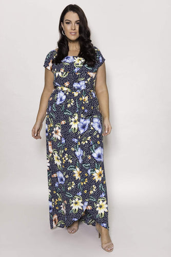 Mela London Dresses Navy / 16 / Maxi Curve - Flower Bardot Maxi Dress in Navy