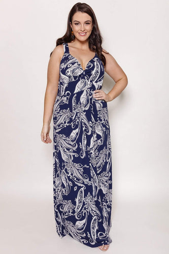 Mela London Dresses Navy / 16 / Maxi Curve - Flower Sketch Maxi Dress in Navy