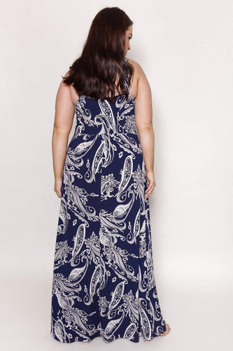 Mela London Dresses Curve - Flower Sketch Maxi Dress in Navy
