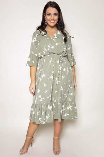 Nova of London Dresses Green / 18 / Knee length Curve - Frill Detail Wrap Dress in Mint