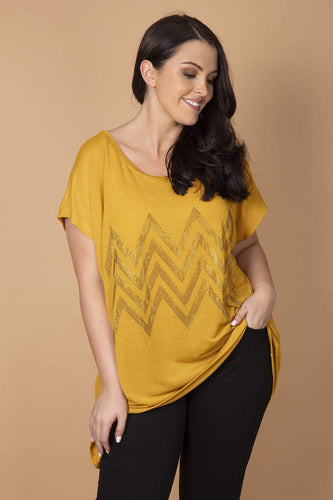 Nova of London Tops Mustard / 18-20 Curve - Gem Zig Zag Top in Mustard