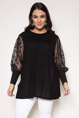 Nova of London Tops Black / 18 / Knee length Curve - Lace Sleeve Swing Tunic in Black