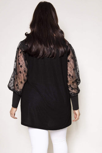 Nova of London Tops Curve - Lace Sleeve Swing Tunic in Black