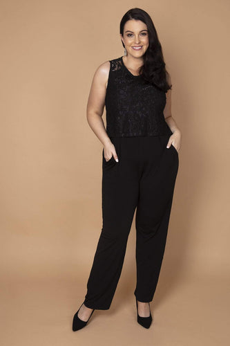 Mela London Jumpsuits Black / 16 Curve - Lace Top Overlay Jumpsuit in Black