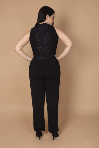 Mela London Jumpsuits Curve - Lace Top Overlay Jumpsuit in Black