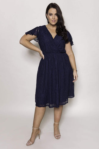 Mela London Dresses Curve - Lace Wrap Front Skater Dress in Navy