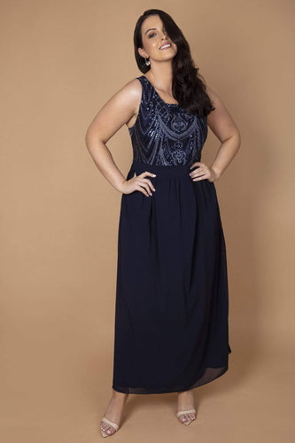 Mela London Dresses Navy / 16 / Maxi Curve - Sequin Detailed Maxi Dress in Navy