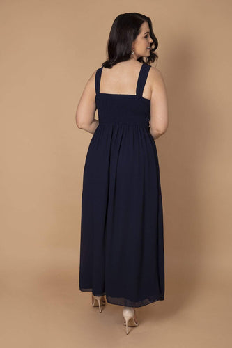 Curve - Sequin Detailed Maxi Dress in Navy