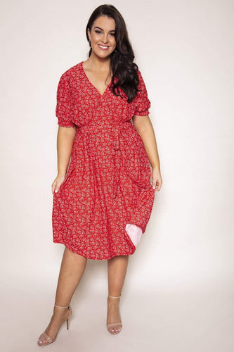 Nova of London Dresses Curve - Shirring Cuff Tea Dress in Red