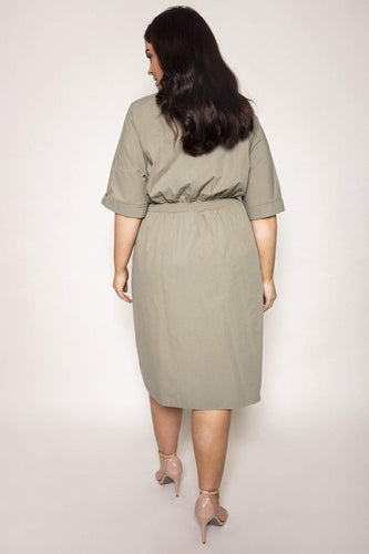 Nova of London Dresses Curve - Shirring Waist Shirt Dress in Sage