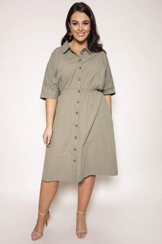 Nova of London Dresses Green / 18/20 / Knee length Curve - Shirring Waist Shirt Dress in Sage