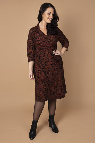 Nova of London Dresses Curve - Soft Touch Animal Wrap Dress in Rust