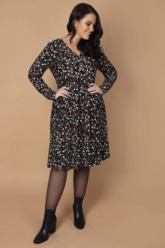 Nova of London Dresses Black / 18 / Midi Curve - Soft Touch Floral Button Dress in Black