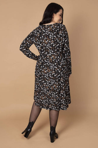 Nova of London Dresses Curve - Soft Touch Floral Button Dress in Black