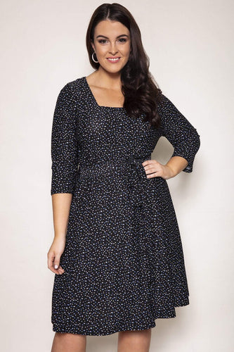 Nova of London Dresses Navy / 18 / Knee length Curve - Square Neck Swing Dress in Navy