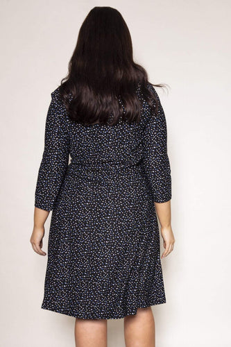 Nova of London Dresses Curve - Square Neck Swing Dress in Navy