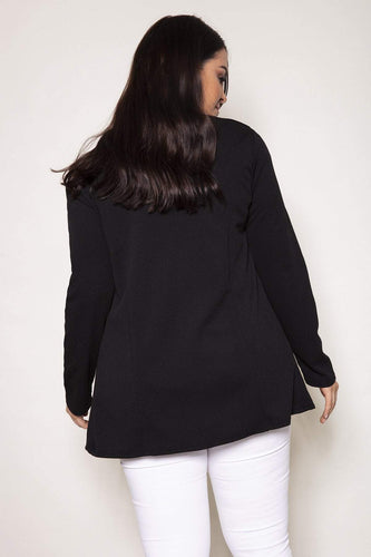 Mela London Jackets Curve - Two Zip Cover Up Jacket in Black
