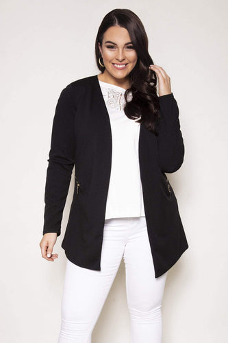 Mela London Jackets Black / 16 Curve - Two Zip Cover Up Jacket in Black