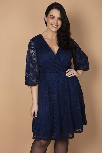 Mela London Dresses Navy / 16 / Over the knee Curve - Wrap Front Delicate Lace Skater Dress