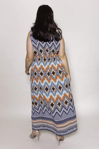 Mela London Dresses Curve - Zip Detail Aztec Maxi Dress in Navy
