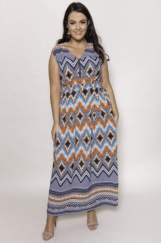 Mela London Dresses Navy / 16 / Maxi Curve - Zip Detail Aztec Maxi Dress in Navy