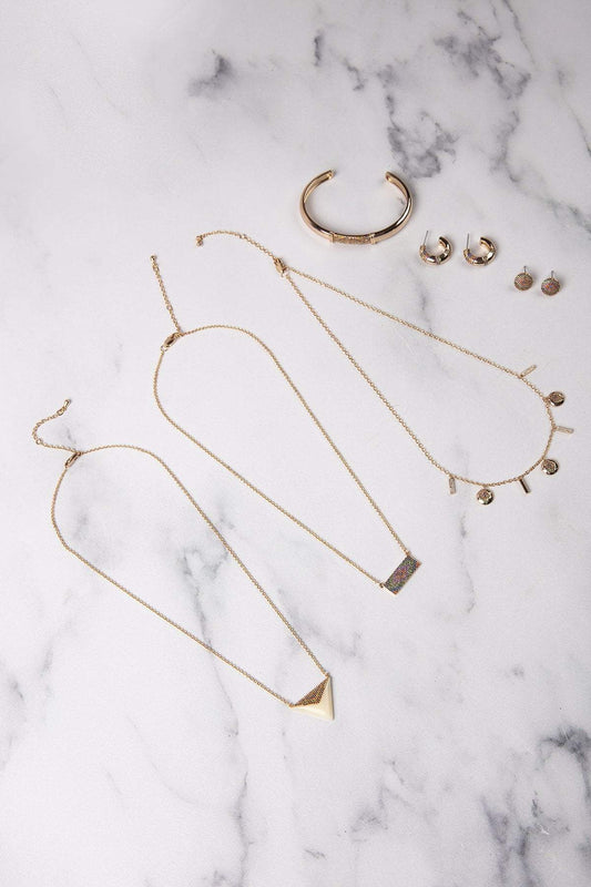 Knight & Day Necklaces Gold Dalia Bar Necklace