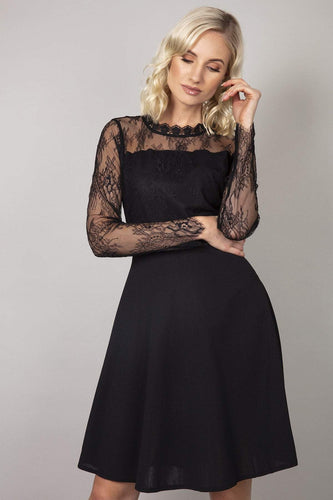 Mela London Dresses Black / 10 / Over the knee Delicate Lace Applique Skater Dress in Black