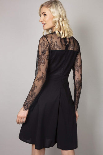 Mela London Dresses Delicate Lace Applique Skater Dress in Black