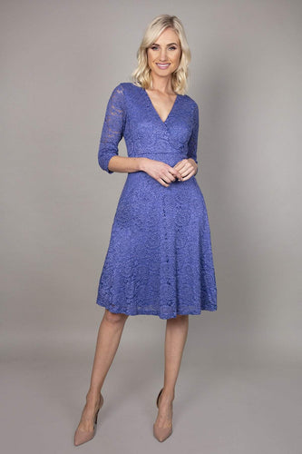 Mela London Dresses Delicate Lace Long Sleeve Dress in Blue