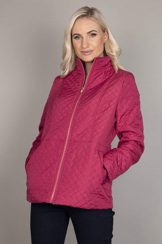 Voulez Vous Jackets Pink / 10 Diamond Embossed Jacket in Berry