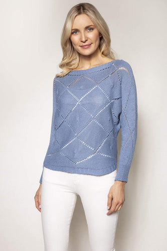 Pala D'oro Jumpers Blue / S/M Diamond Knit in Blue