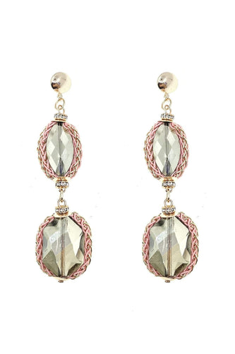 Joularie Earrings Gold Double Clear Stone Drop Earrings