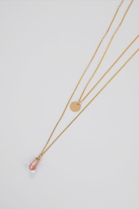 Soul Jewellery Necklaces Gold Double Layered Necklace with Pink Stone