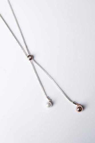 Joularie Necklaces Silver Double Pearl Drop Necklace in Silver