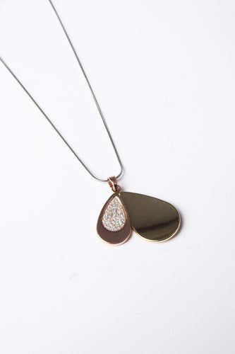 Joularie Necklaces Gold Double Tear Drop Necklace in Gold