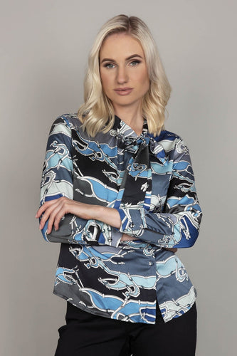 Darling Blouses Blue / 10 Dove Duchess Blouse in Blue