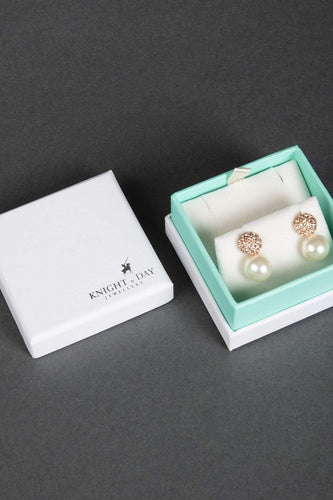 Knight & Day Earrings Rose Gold Drop Pearl with Rose Gold Detail