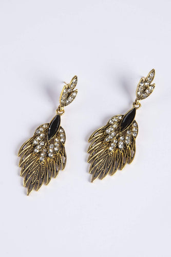 Soul Jewellery Earrings Gold Dropping Leaves with Diamante in Gold