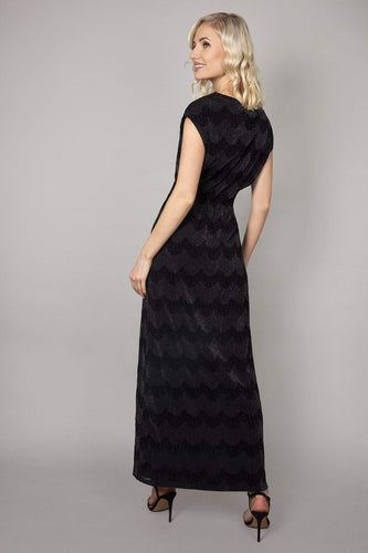 Mela London Dresses Elasticated Waist Maxi Dress in Black