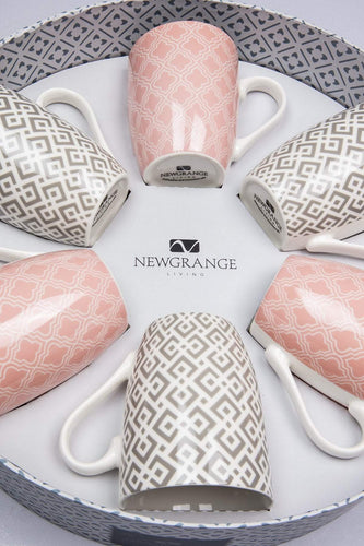 Newgrange Mugs Emily Set of 6 Grey and Pink Mugs