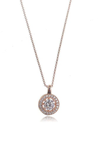 Joularie Necklaces Rose Gold Encrusted Circle Diamante Drop Necklace