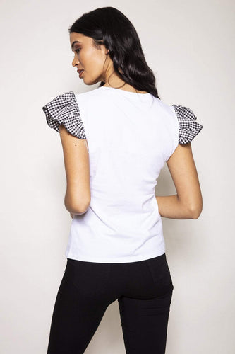 Nova of London Tops Eyelash Diamante Top in White