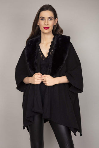 SOUL Accessories Ponchos Black / One Faux Fur Cape in Black