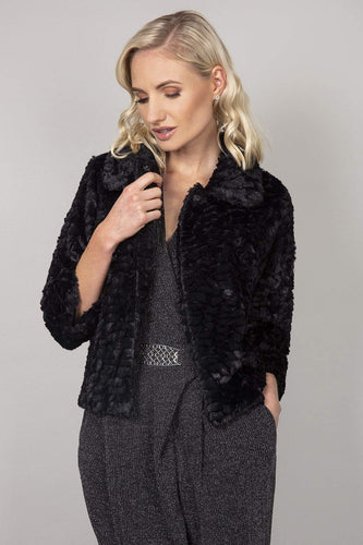 Mela London Jackets Faux Fur Collar Jacket in Black