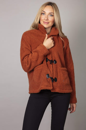 Nova of London Jackets Brown / S Faux Fur Teddy Collar Jacket in Cinnamon