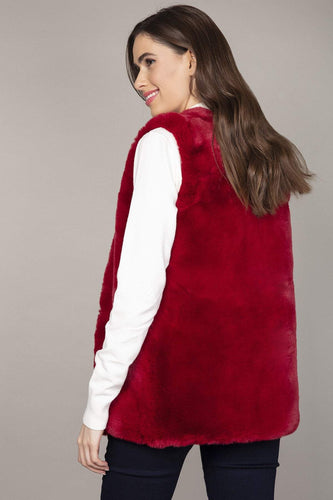 Nova of London Gilet Faux Fur Teddy Gilet in Burgundy