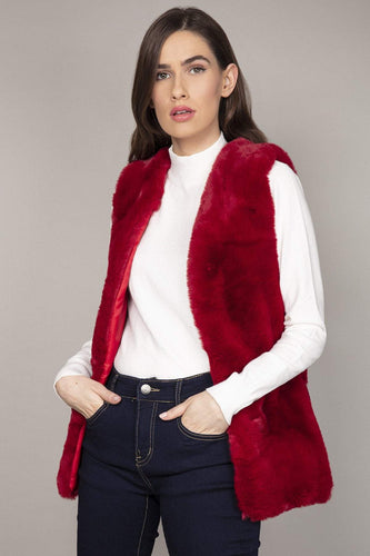 Nova of London Gilet Burgundy / S Faux Fur Teddy Gilet in Burgundy