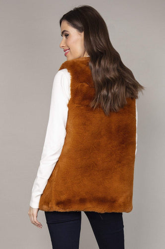 Nova of London Gilet Faux Fur Teddy Gilet in Camel
