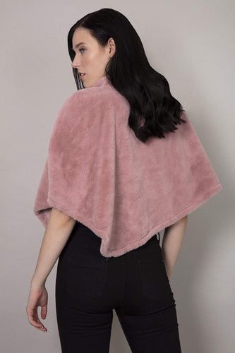 SOUL Accessories Ponchos Pink / One Faux Fur Teddy Poncho in Pink