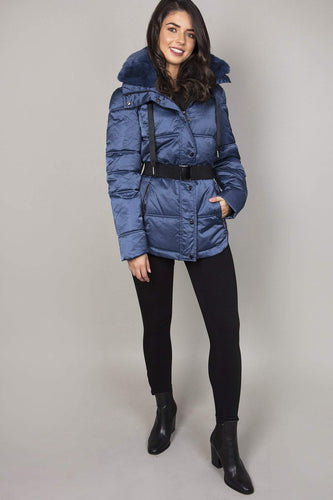 Rino & Pelle Coats 10 / Blue Faux Fur Trim Coat in Blue